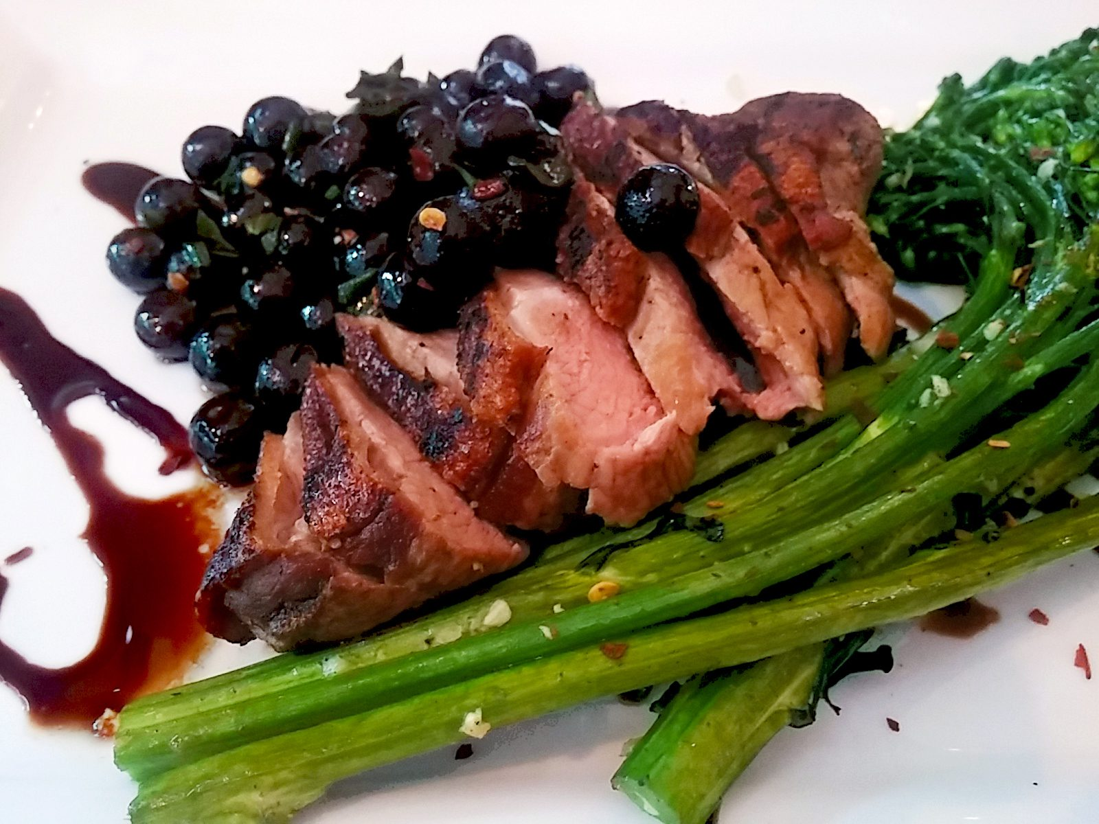 Roasted Duck and Broccolini with Huckleberry Relish